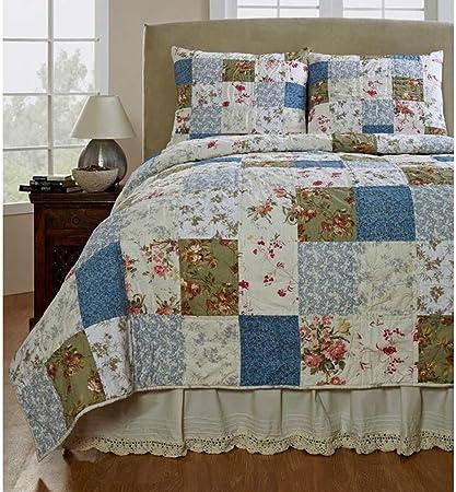 2 piezas azul Patchwork colcha para cama doble, gris Floral país ...