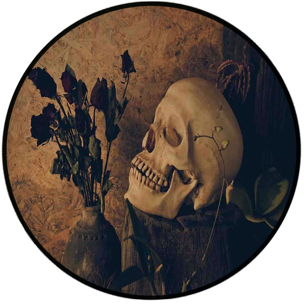 Printing Round Rug,Gothic,Human Skull with Dead Dried Roses in the Vase Grunge Style Bourgeois Life Culture Mat Non-Slip Soft Entrance Mat Door Floor Rug Area Rug For Chair Living Room,Beige Black