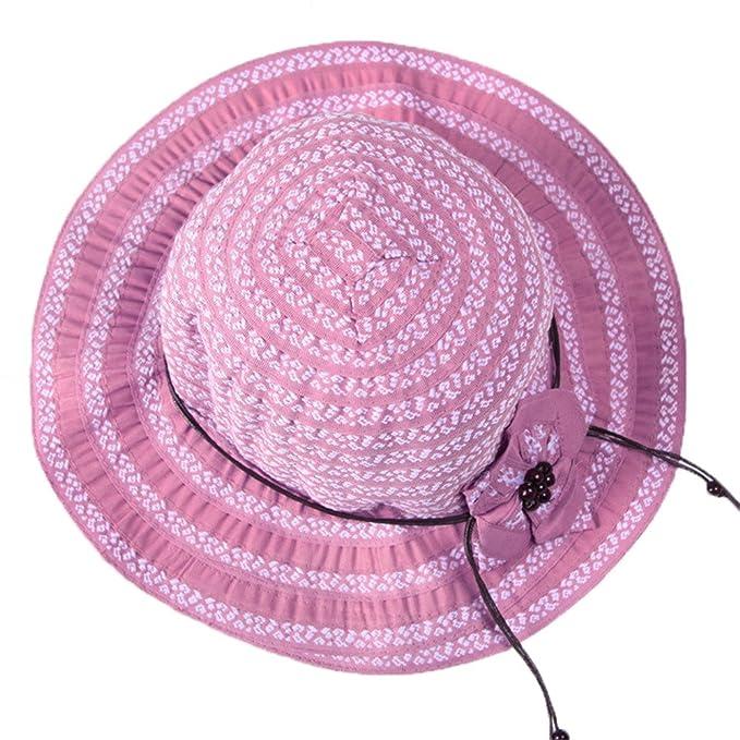 Sombrero de Jipijapa de Paja Gorra Verano Primavera Plegable Mujer Niñas  Rosa  Amazon.es  Ropa y accesorios bb269e9d8d2