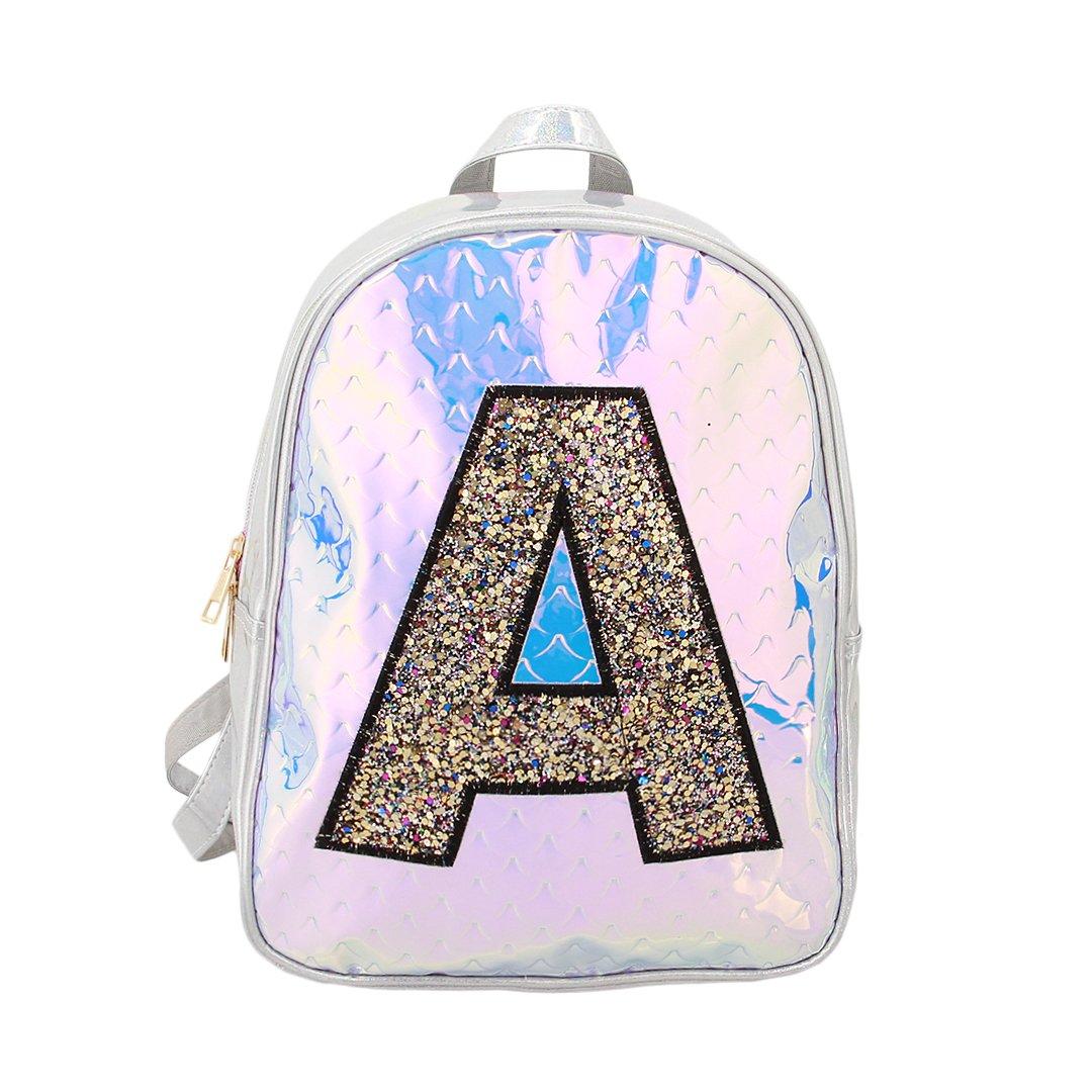 Candice Women Silver Hologram Holographic PU Shoulder Bag Satchel Backpack School Bag