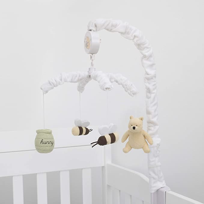 Sage Ivory Butter Musical Mobile with Hunny Pot and Bees Brown Disney Winnie The Pooh Classic Pooh Ivory Sage Butter