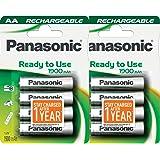 Panasonic Lot de 8 piles AA NiMh préchargées et prêtes à l'emploi, rechargeables 1900 mAh