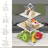 Goodfans 2/3-Tiers Cake Stands,Square Pure Elegant Embossed Dessert Display White for Baby Shower Wedding Birthday Party Celebration Home Decor(24 x 37 cm) Ornaments