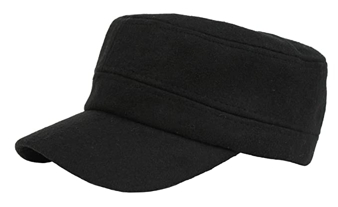 Mens Womens Flat Top Wool Warm Cap Baseball Hiking Outdoor Army Military Hat  Black eee91b90a40d