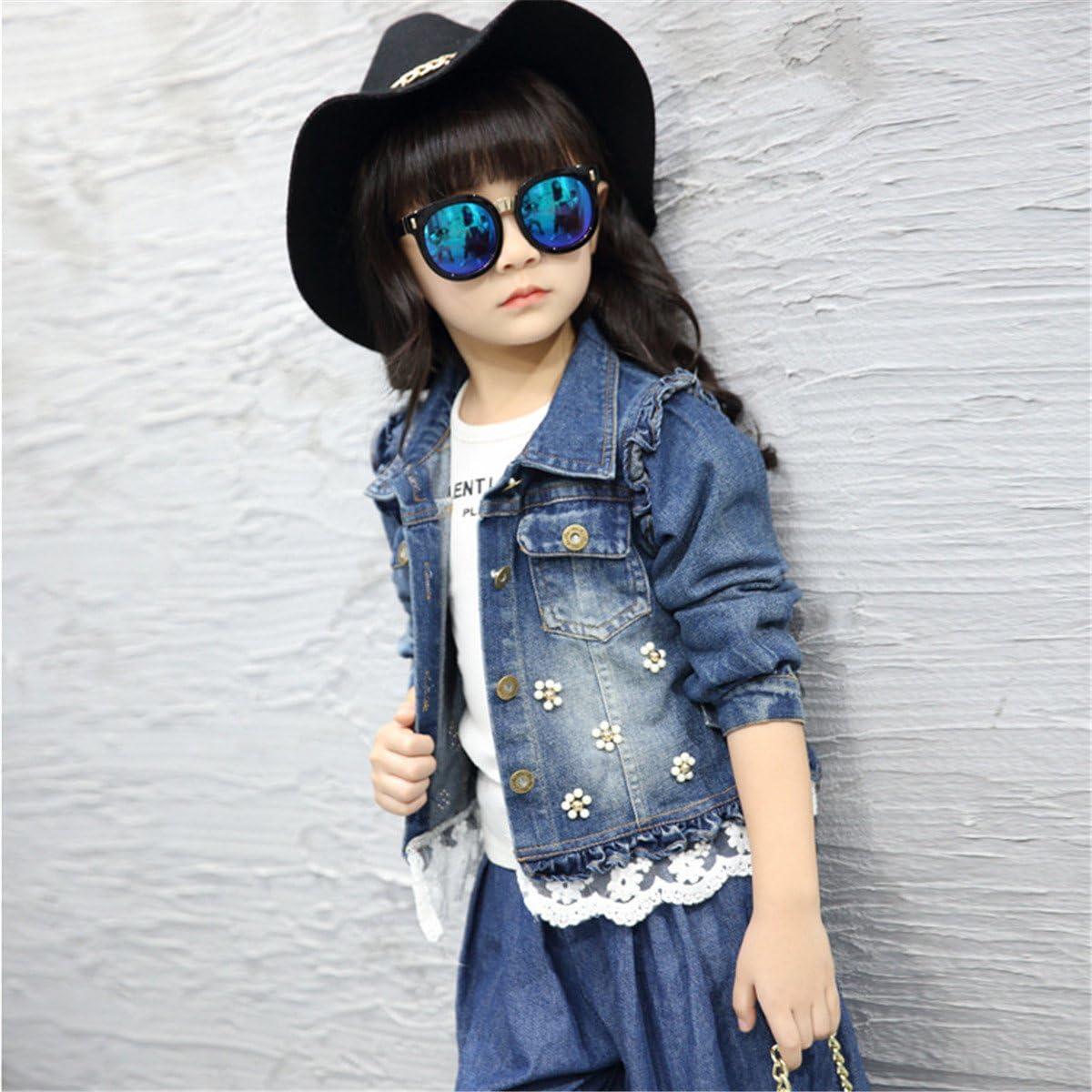 JELEUON Little Big Girls Kids Flower/&lace Patch Front Buttons Denim Short Jacket Coat Outwear