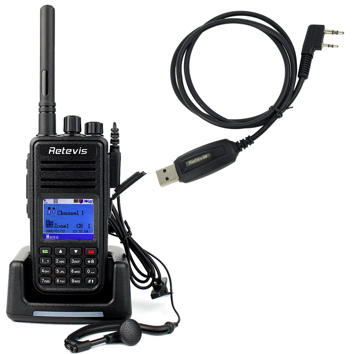 Retevis RT3 Two Way Radio DMR Digital/Analog UHF 400-480MHz 1000CH 2000mAh VOX Walkie Talkies with Earpiece and Programming Cable by Retevis