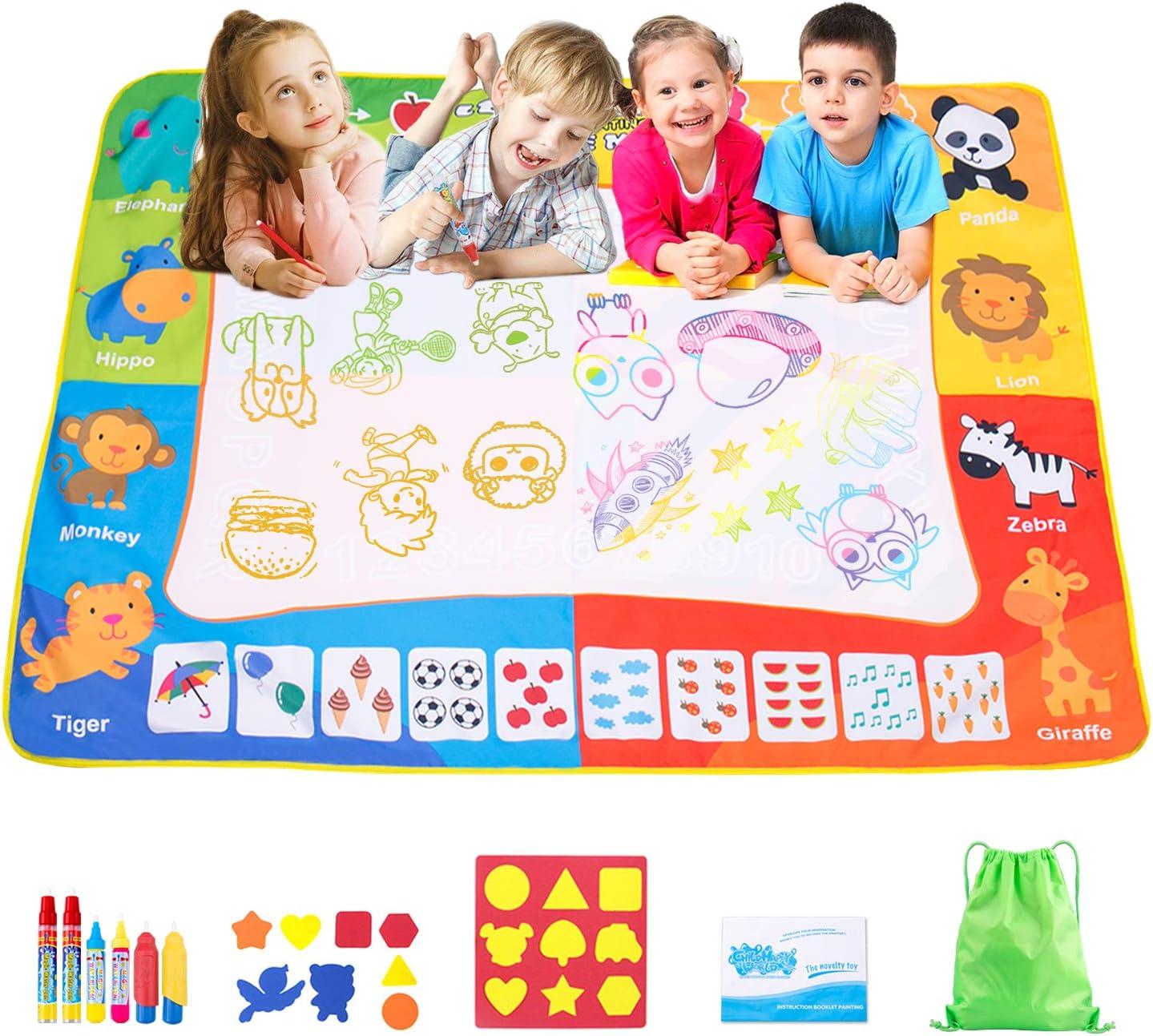 Omew Agua Dibujo Pintura,Esteras de Agua Doodle, de 120 x 90 cm de Mayor tamaño , con 6 bolígrafos mágicos, 8 Sellos, 1 Molde y 1 folleto de Dibujo y 1 Mochila de Almacenamiento para niños