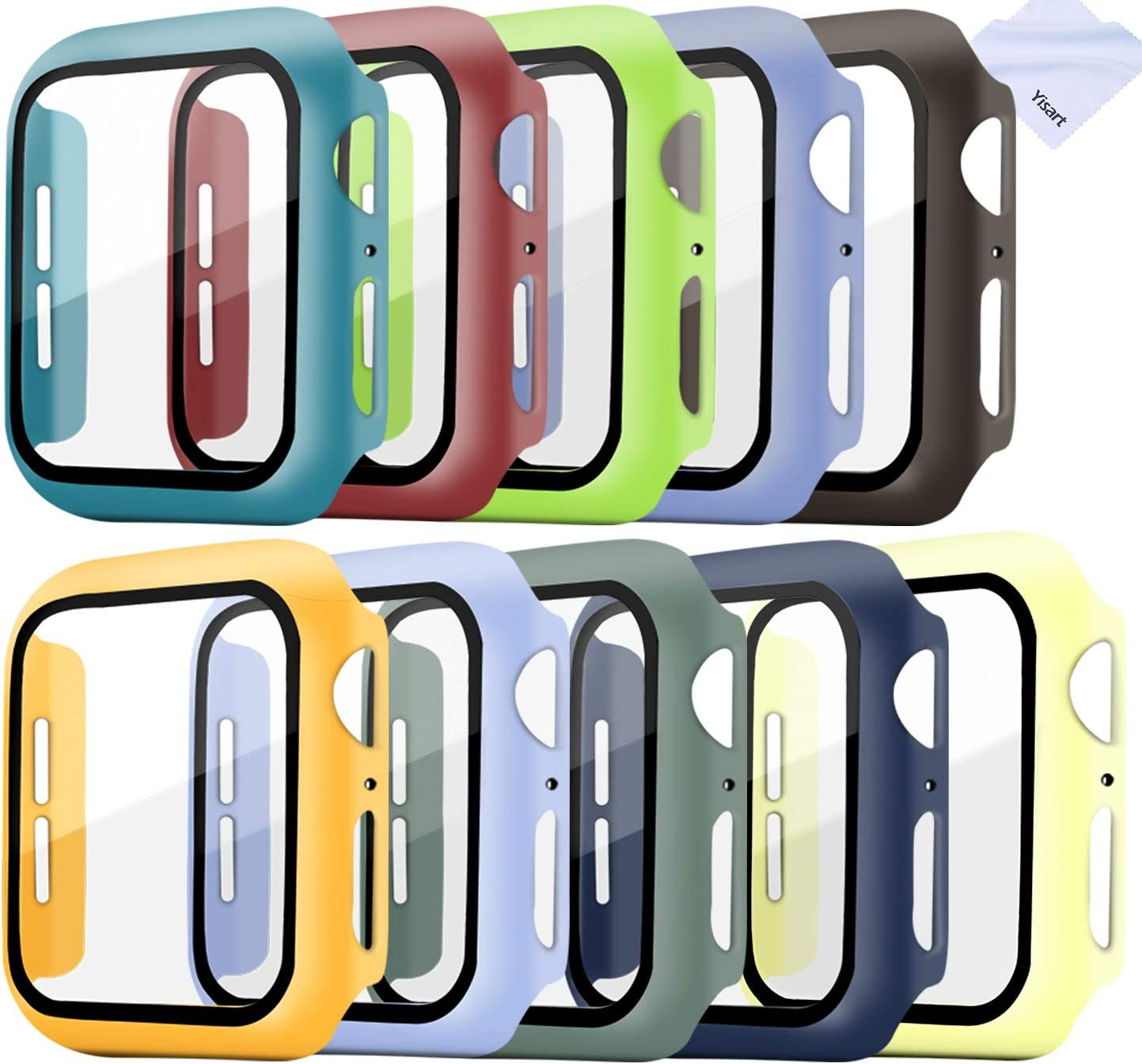 10 Pack Screen Protector for Apple Watch Series 6/5/4 /SE 44mm Case with Tempered Glass Screen Protector Cover Bumper (44mm)
