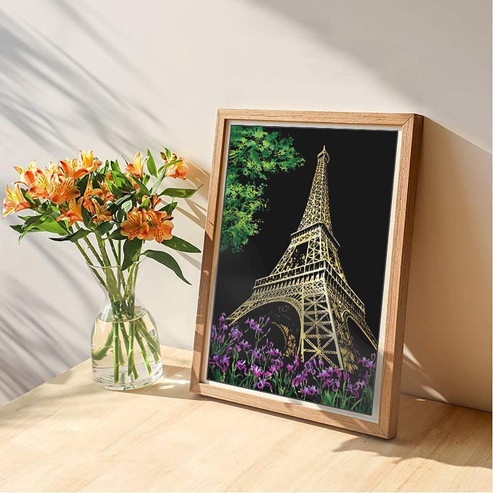 Rainbow Scratch Art Painting Paper with 3 Tools Eiffel Tower Sketch Pad DIY Night View Scratchboard MIASTAR Scratch Painting Kits for Adults /& Kids Craft Art Set 16 x 11.2 Creative Gift