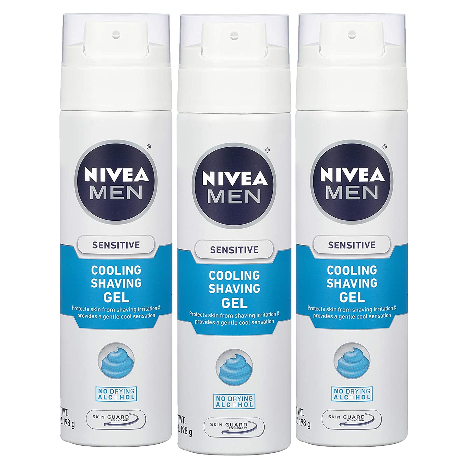 NIVEA Men Sensitive Cooling Shaving Gel - Gentle Cooling Sensation while Shaving - 7 oz. Can (Pack of 3)