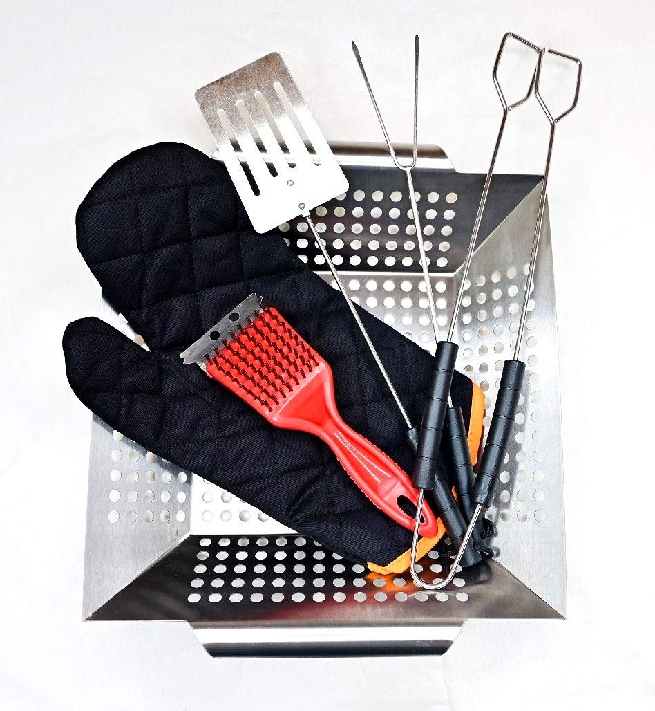 [Set]: Vegetable Grill Basket and 5 Grilling Tools (Grill Brush, Grill Spatula, Grill Tongs, Grill Fork and Grill Glove), Outdoor Grill Tool Set with Camping Utensils; BBQ Accessories for Outdoors