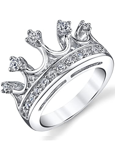 Ultimate Metals Co. ® 925 Sterling Silver Cubic Zirconia Princess Crown Tiara CZ Band Ring S1G9jmIU