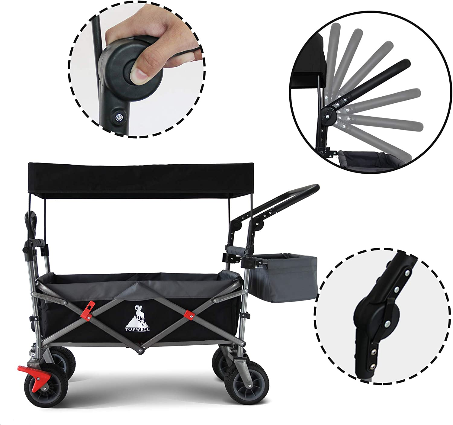 Foldable Handcart Transport Trolley 83 L Foot Brake and Removable Roof 120 kg TOPWELL All-Terrain Folding Trolley with 360/° Wheels Foldable Hand Cart for Children