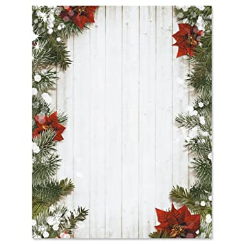 poinsettia pine christmas letter papers set of 25 christmas stationery papers are 8 1