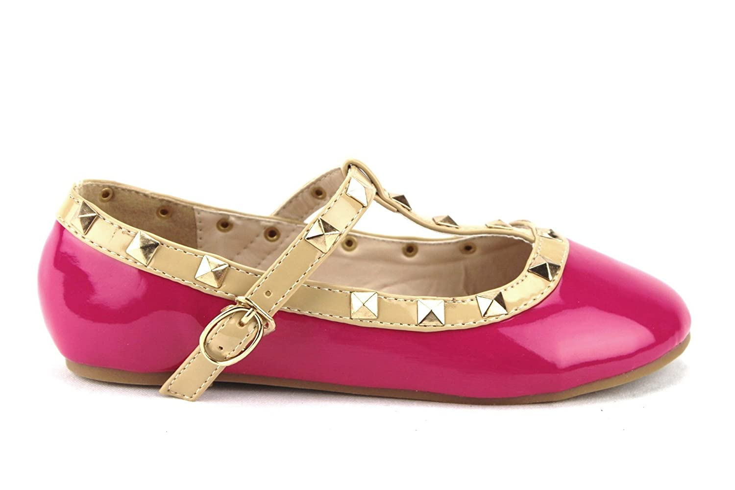 Ositos QQ Little Girls Kids Dolly36 Designer T-Strap Studded Mary Jane Flats Shoes
