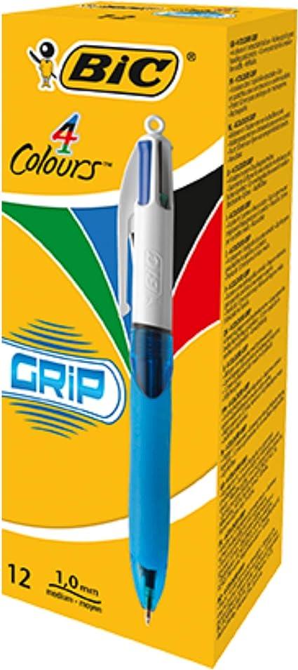 BIC 4 Colores Grip Bolígrafo Retráctil Punta Media (1,0 mm) – Caja ...