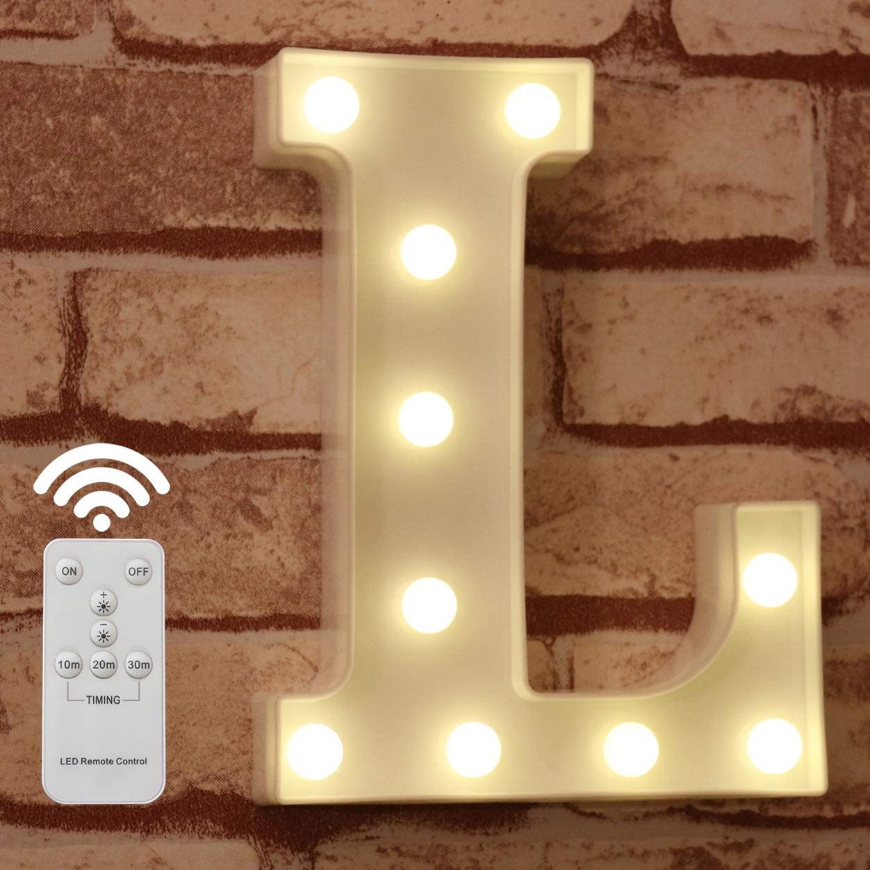 Pooqla LED Marquee Letter Lights Alphabet Light Up Sign with Wireless Timer Remote Control Dimmable for Wedding Home Party Bar Decoration - RC - L