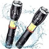 2本懐中電灯COBランタン、高輝度ランタン+懐中電灯 2 in 1、防水 ハンドヘルドライト、6モード、マグネットベース、超明るい、ズーム可能、日常応急照明 夜間作業 用 (電池は含まれていません)