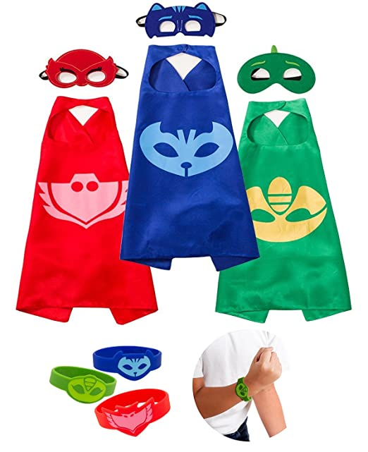 Daliac Masks Costumes 3 Masks Capes and Bracelets Catboy Owlette Gekko for Kids