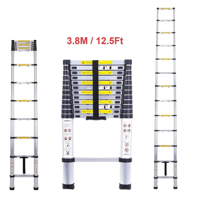 /est/ándares EN131 9/Pasos/ CohesiveTech Escalera telesc/ópica de aluminio/ /2,60/m