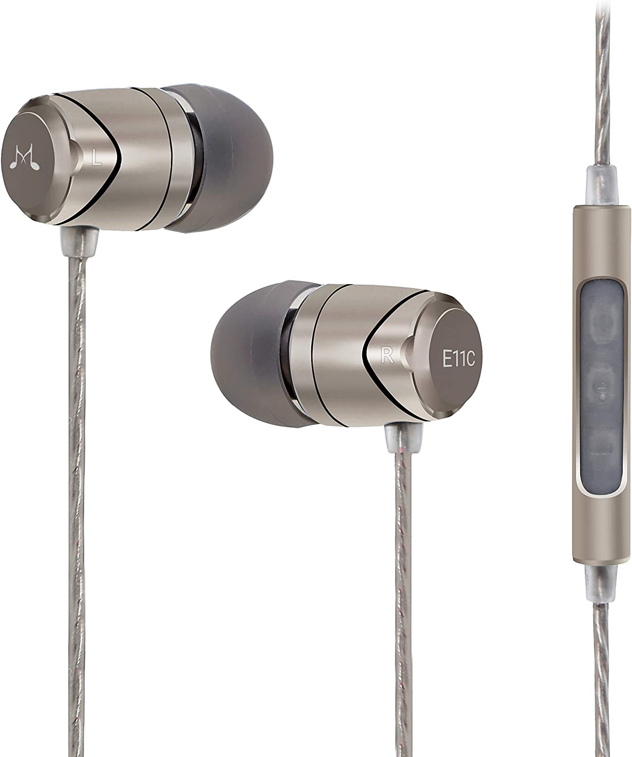 SoundMAGIC E11C Earphones Wired Noise Isolating in-Ear Earbuds Powerful Bass HiFi Stereo Sport Headphones with Microphone (Gunmetal)