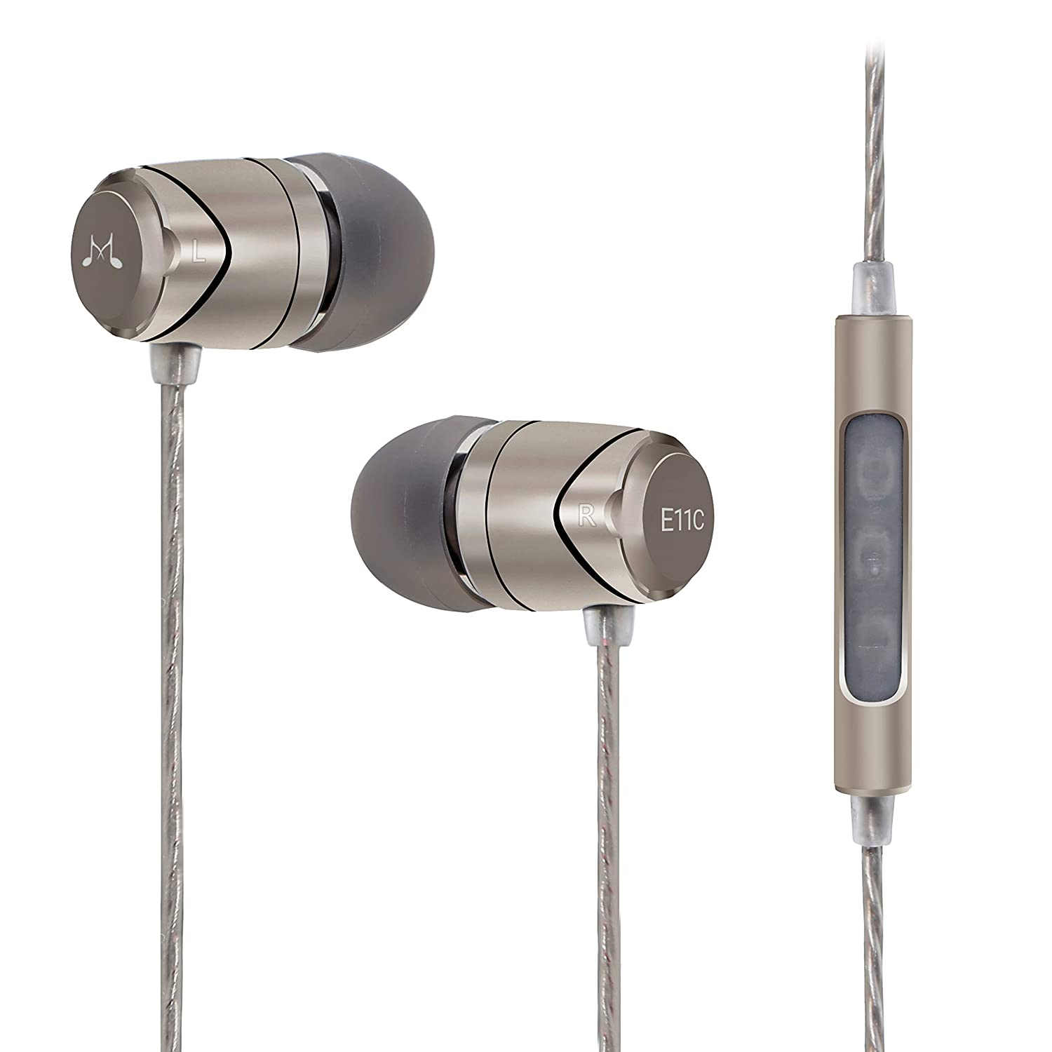 SoundMAGIC E11C Earphones Wired Noise Isolating in-Ear Earbuds Powerful Bass HiFi Stereo Sport Headphones with Microphone Gunmetal