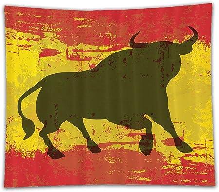 Beshowereb - Manta de Forro Polar, diseño de Toro español Envejecido, con la Bandera de España: Amazon.es: Hogar
