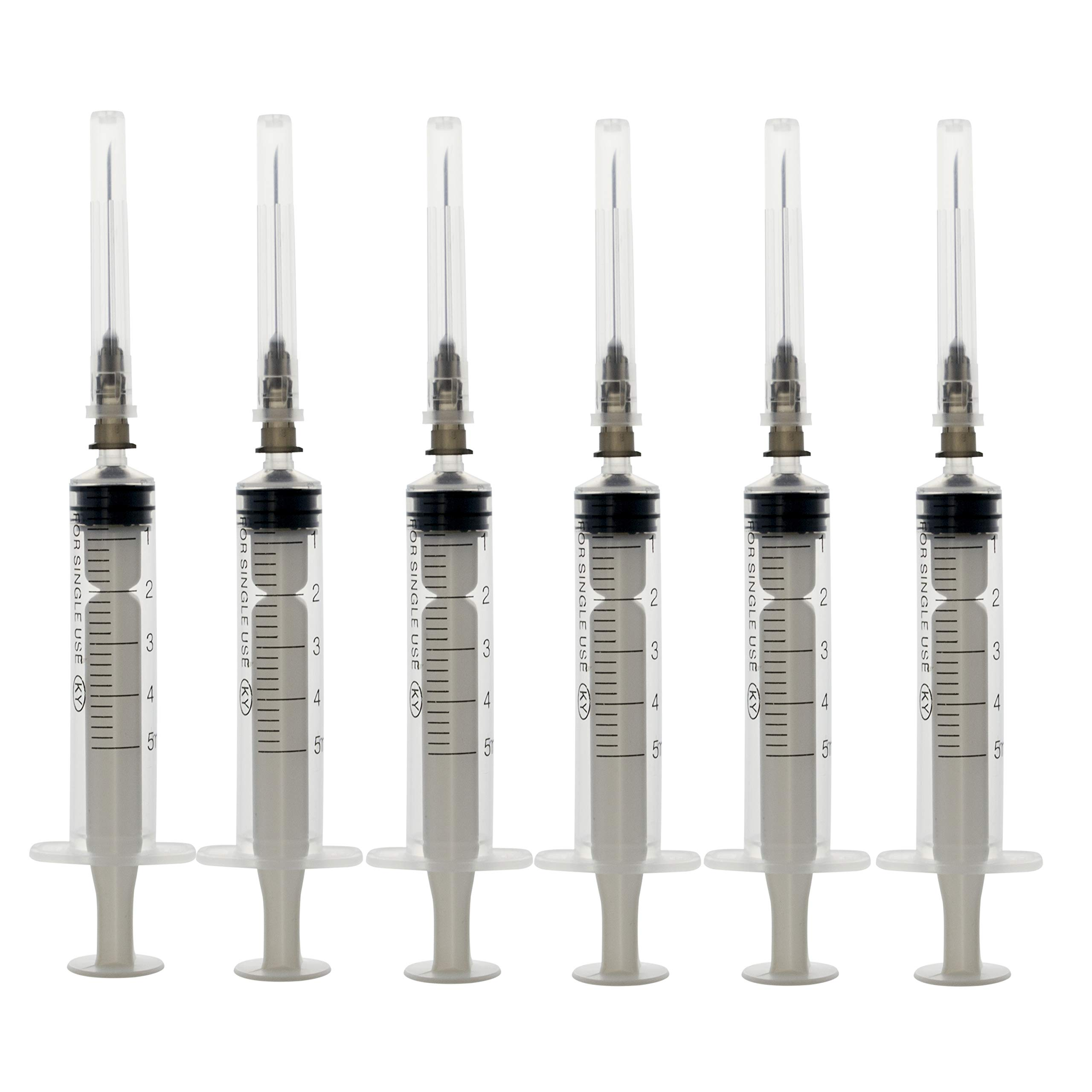 50Pack-5ml/cc 23Ga Veterinary Or Industrial Disposable Sterile Syringe Needle,Plastic Syringe,Glue Syringe,Single Sterile Individually Packaged (50Pack-5ml) by SHAOTONG