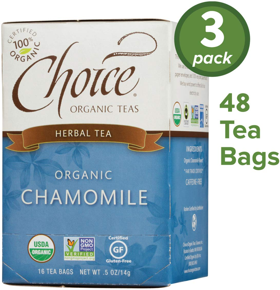 Choice Organic Teas Herbal Tea, 3 Boxes of 16 (48 Tea Bags), Chamomile, Caffeine Free by Choice Organic Teas