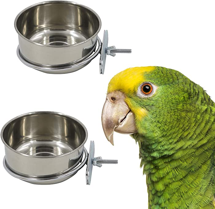 2 Pack Bird Cage Seed Feeder Pet Food Water Bowl Stainless Steel Parrot Feeding Coop Cup Dish with Clamp Holder for Medium and Large Parrots