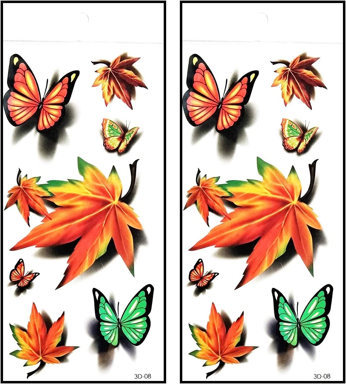 Amazon Com Tattoos 2 Sheets Orange Butterfly Leaves Tattoos Men Arm Tattoo Temporary Tattoos Party Sticker Fake Tatoo Body Art Waterproof 3d Style Fashion Fantasy Arts Crafts Sewing