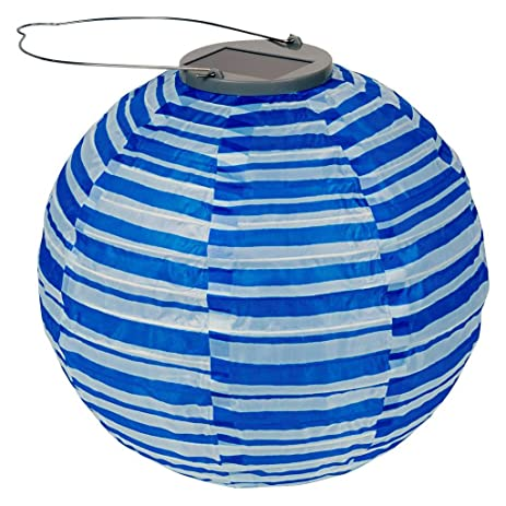 Allsop Home And Garden 10 Inch Round Soji Solar Lantern, Blue And White  Stripe