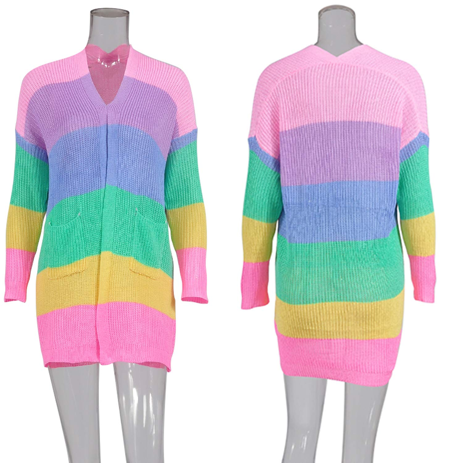 ECOWISH Womens Color Block Striped Draped Kimono Cardigan with Pockets Long Sleeve Open Front Casual