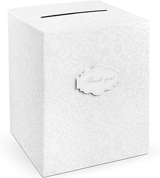Partydeco - Caja Porta Sobres Bordada, Color Blanco, 25 x 25 x 30 ...