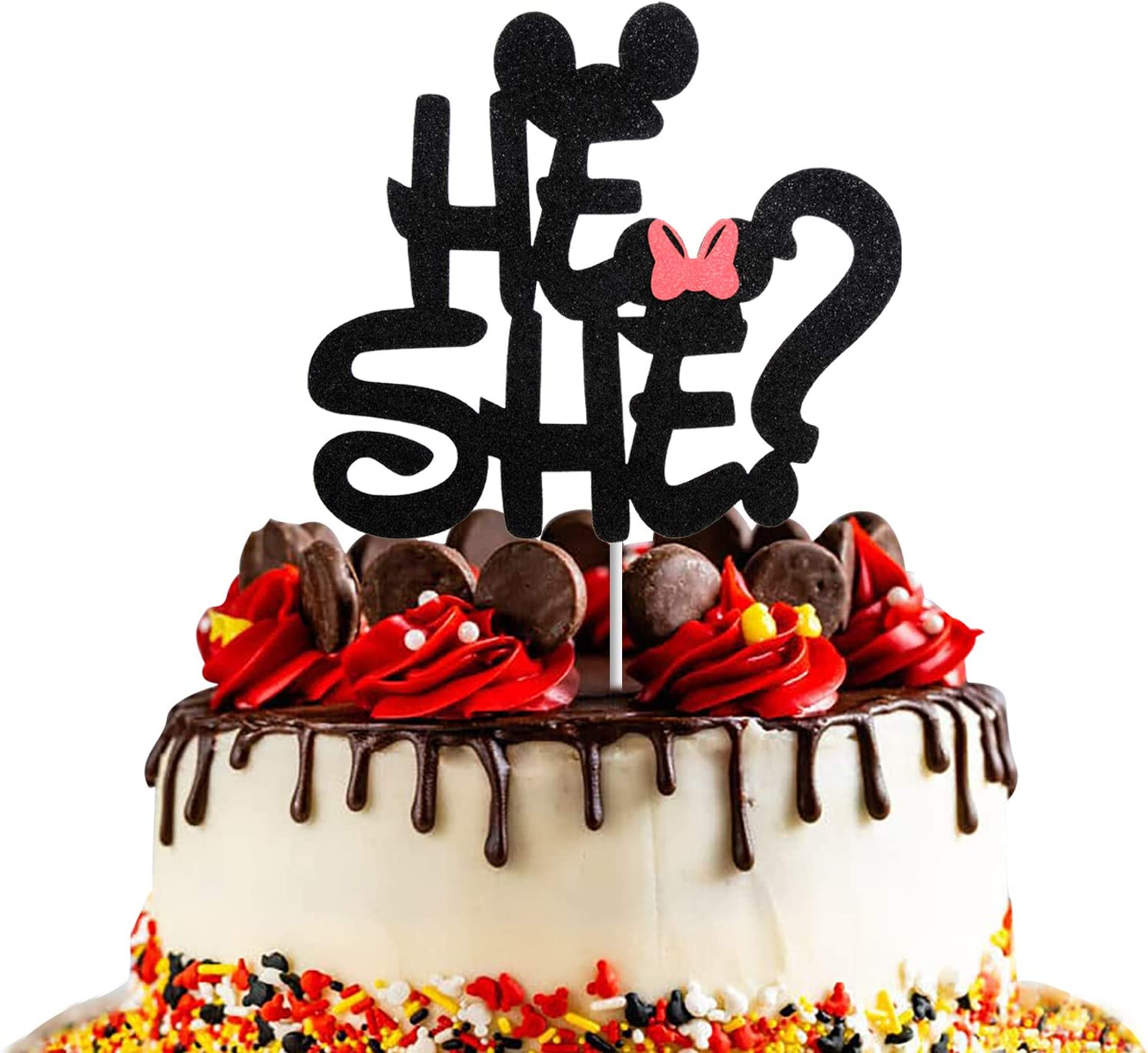 Mickey Inspired He or She Cake Topper,Black Glitter Gender Reveal Baby Shower Party Decorations for Photo Booth Props, Boy or Girl Cake Decor