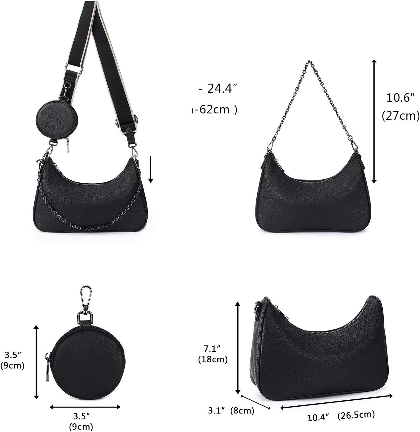 YALUXE Sac Porte /épaule Femme Cuir V/éritable Sac /à Main Pochette Mode avec Petit Porte Monnaie Noir