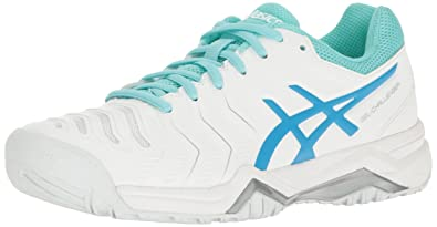 6a721a91dd21 ASICS Women s Gel-Challenger 11 Tennis Shoe White Diva Blue Aqua Splash 5.5
