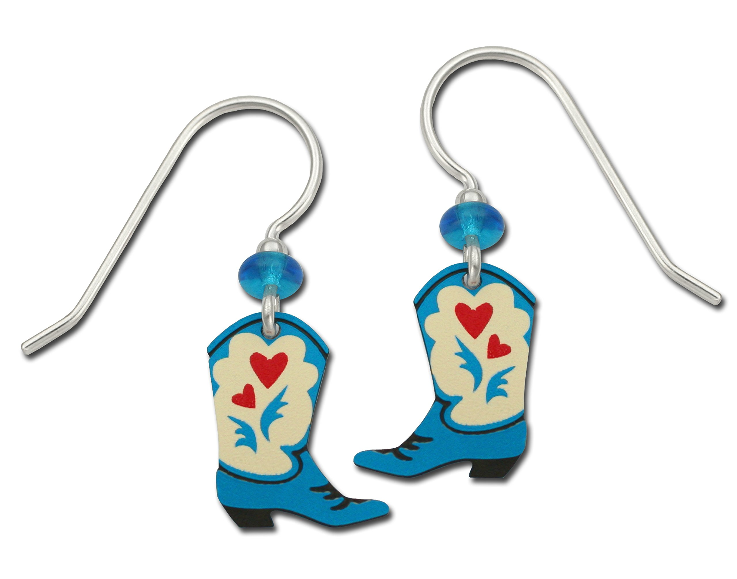 Sienna Sky Cowgirl Cowboy Western Boots Red Hearts Hand Painted Earrings with Gift Box Made in USA
