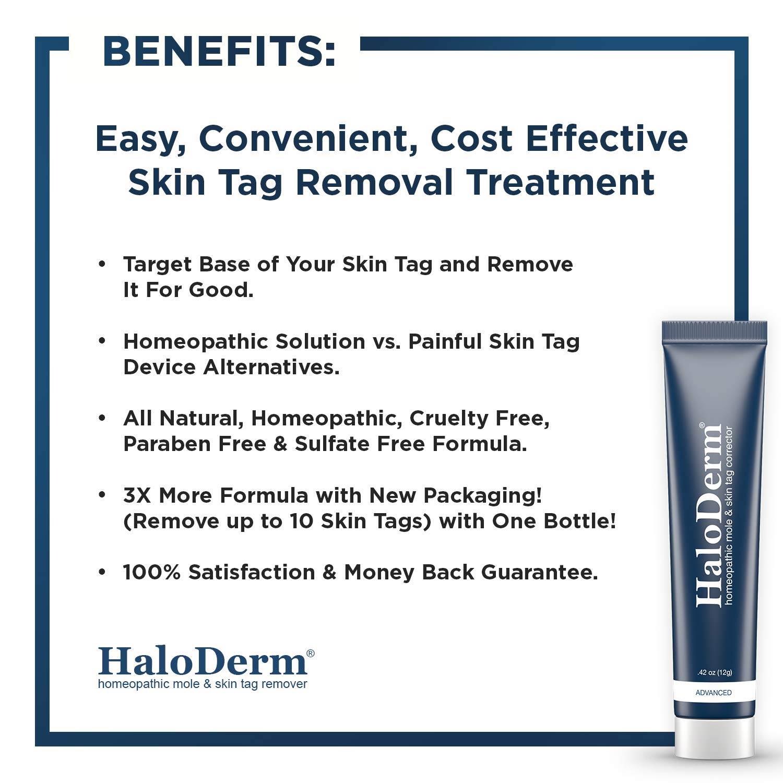 HaloDerm Advanced Skin Tag Remover & Mole Corrector - All Natural Skin Tag  Cream - Remove up to 10