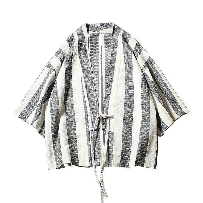 Zhhlinyuan Stripe Trajes de Estilo Japonés Kimono Japón Capa Hombres Mujeres Suelto Cloak Chinese Style Cárdigan