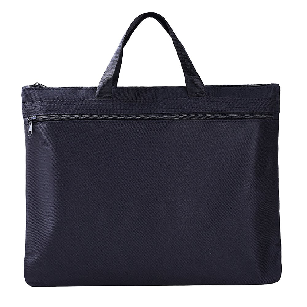 MyLifeUNIT Business Document Bag, Zipper Canvas File Bags Folder for A4 Papers (Black)