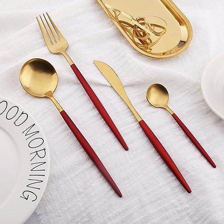 ... de Cubiertos Acero Inoxidable con Asas de Color Cubertería Conjunto Utensilio Cuchara Cuchillo Tenedor Cucharilla Cuberterías Combinadas (Rojo- Dorado): ...