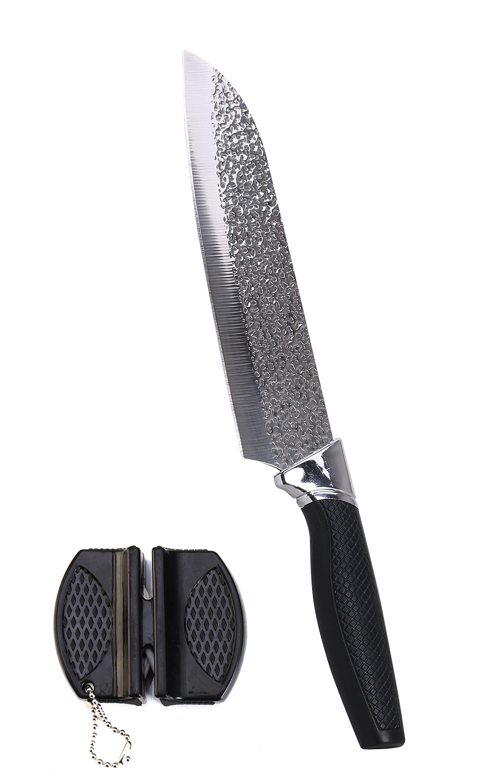 eZthings 12'' Heavy Duty Professional Cutting Chefs Knife - Razor Sharp with Edge Retention, Stain-Corrosion Resistant for Home Kitchen Plus Free Knife Sharpener (Chef Knife 7 Inch Blade)