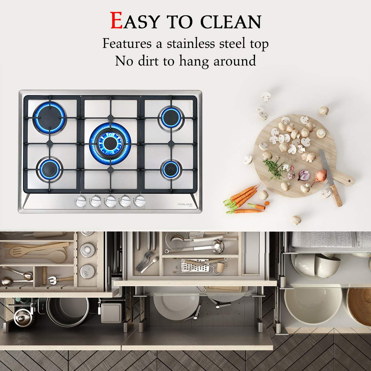 CSA Certified Italy Sabaf 5 Burner Gas Cooktops Gas Cooktop Thermocouple Safety Protection 30 Stainless Steel Gas Hob LPG /& Natural Gas Stove Top 30 Inch Built-in Gas Cooktop