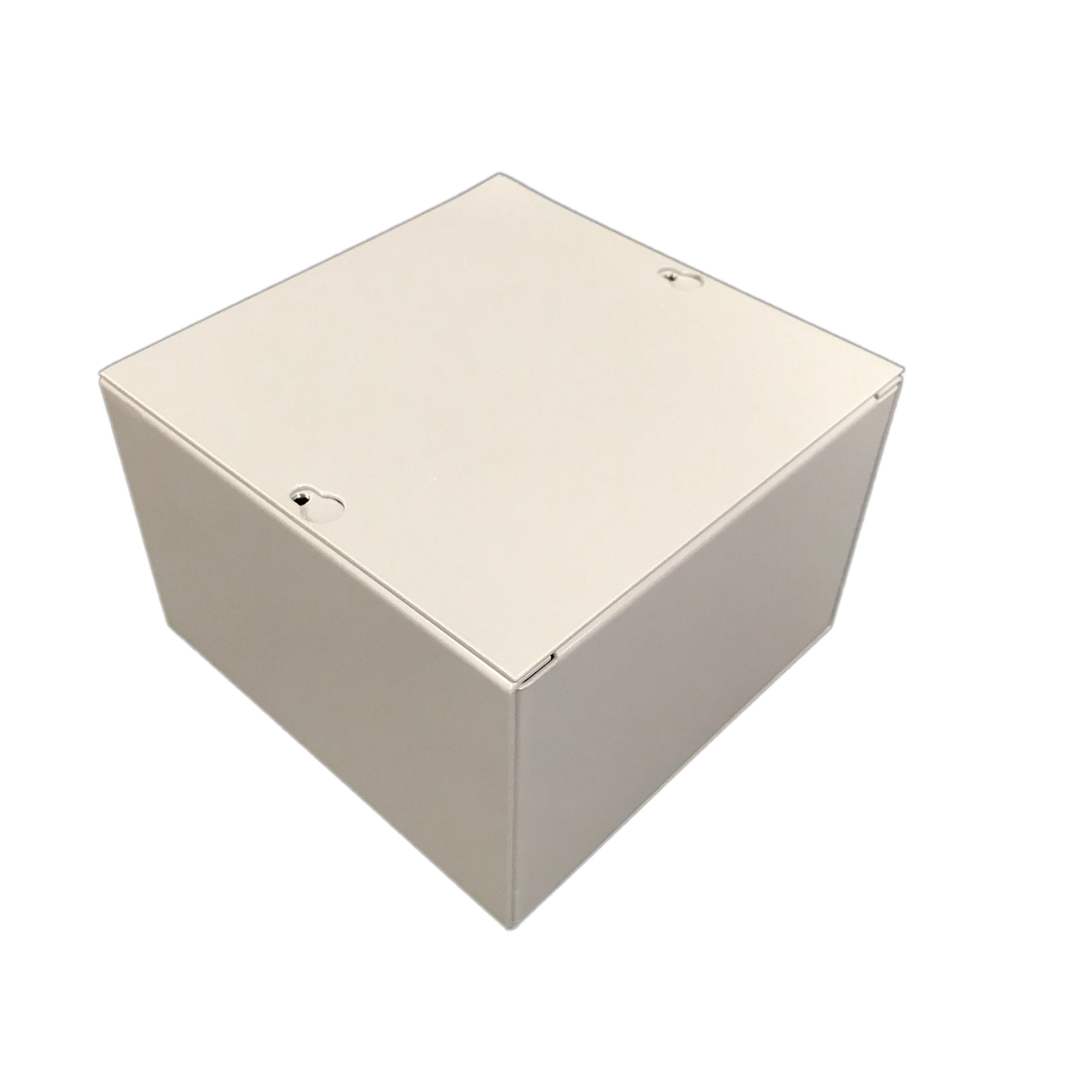 BUD Industries JB-3955 Steel NEMA 1 Sheet Metal Junction Box with Lift-off Screw Cover, 6'' Width x 6'' Height x 4'' Depth, Gray Finish