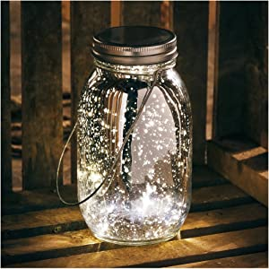 Primitives by Kathy Mercury Glass Lantern Jar Light, Silver