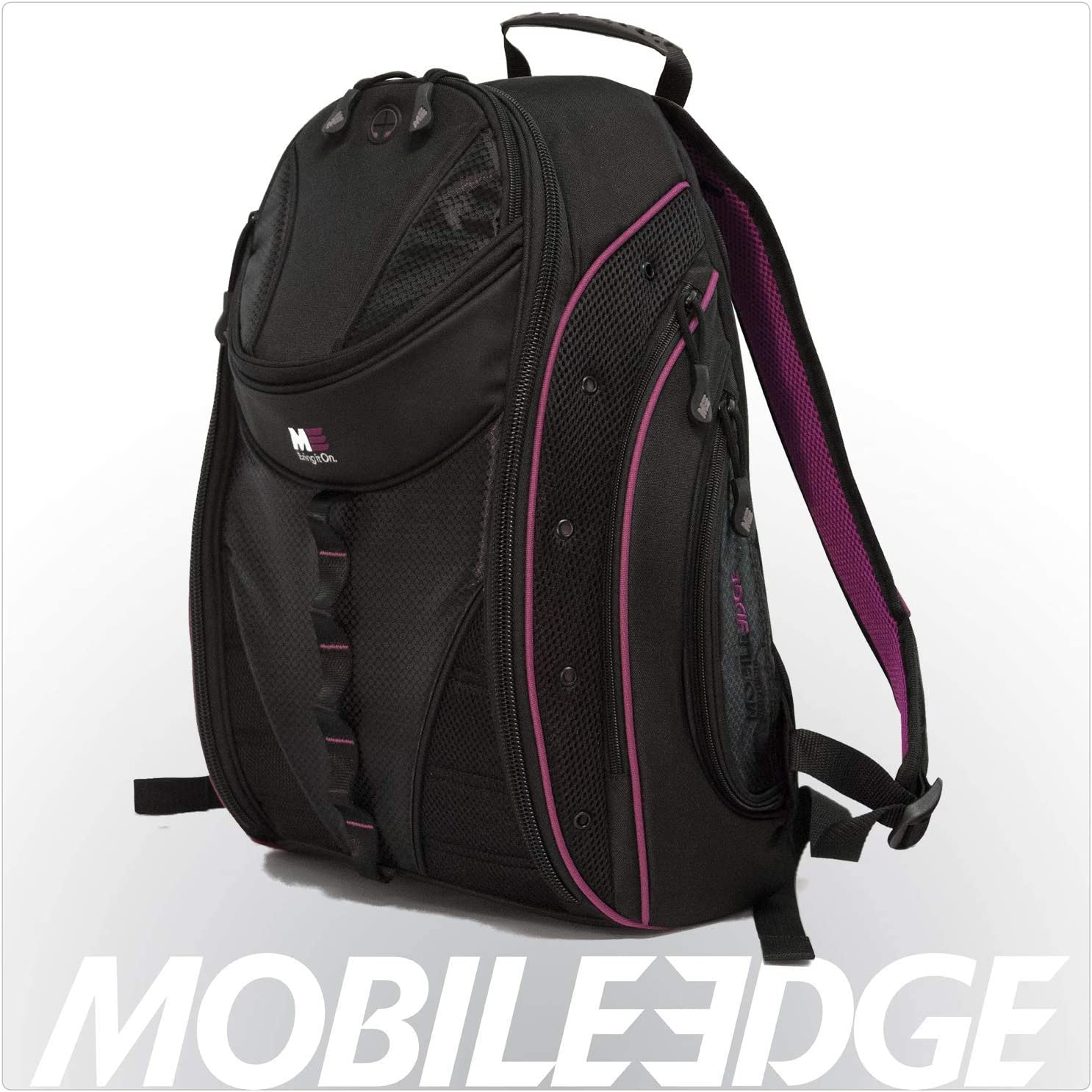 Mobile Edge Express Laptop Backpack 2.0 16 Inch PC, 17 Inch Mac Black with Lavender Trim for Men, Women, Students MEBPE82