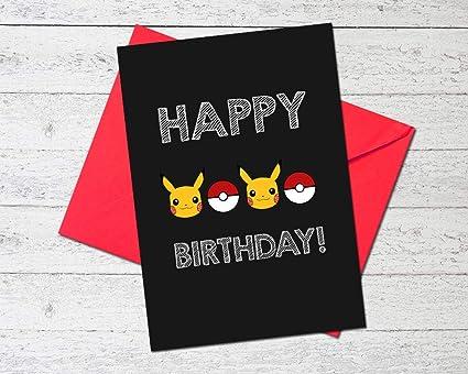 Premium Pokemon tarjeta de cumpleaños: Amazon.es: Oficina y ...