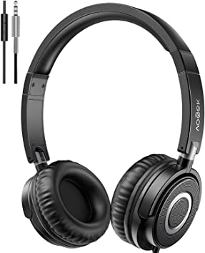 Headphones with Microphone, Vogek Lightweight Foldable on Ear Headset for Kids Teens Adults, Wired Stereo Headphones with Deep Bass, Portable Design for Home Office Travel Virtual Schooling, Black