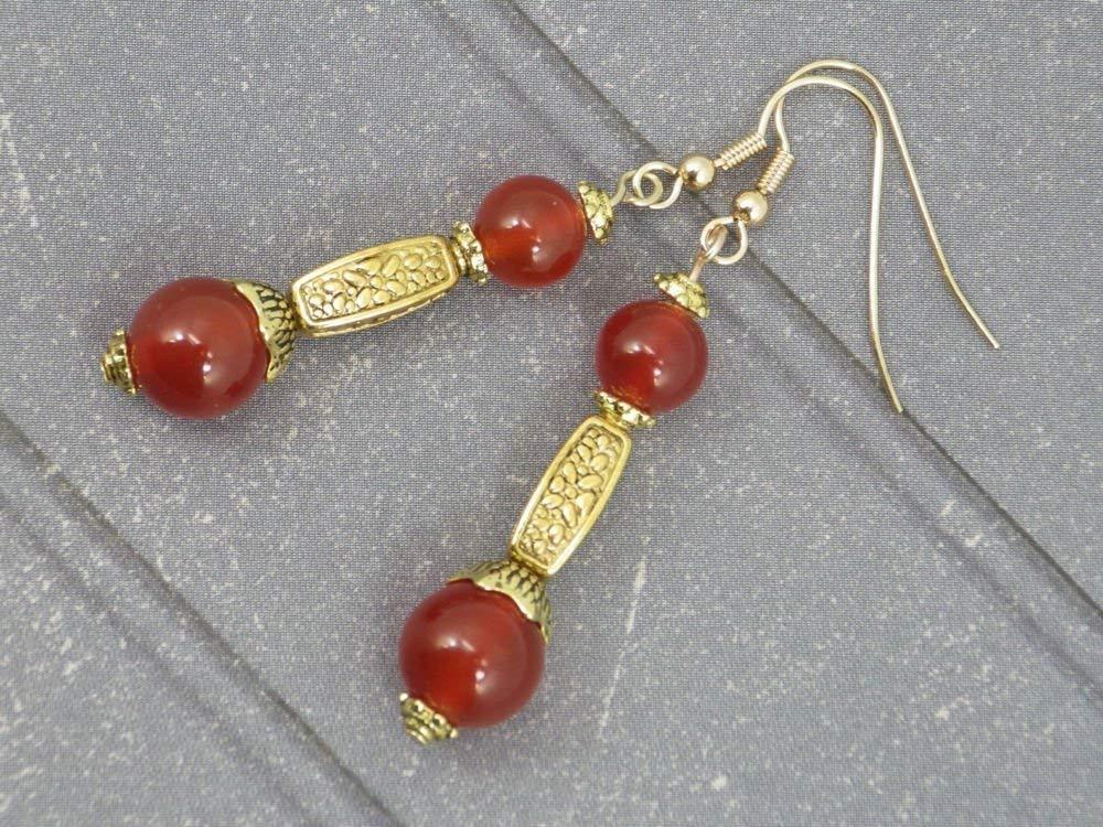 Pendientes Thurcolas metal dorado en cornalina de la gama Medicis